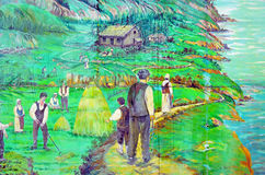 Mural tell story of acadians people Royalty Free Stock Image