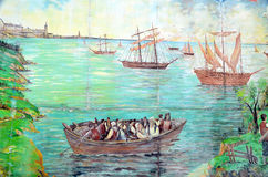 Mural tell story of acadians people Royalty Free Stock Photography