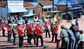 Mural tell the story of Chemainus. CHEMAINUS BC CANADA JUNE 23 2015: Mural tell the story of Chemainus is a city on the east coast of Vancouver Island, British Stock Photo