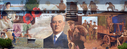 Mural tell the story of Chemainus. CHEMAINUS BC CANADA JUNE 23 2015: Mural tell the story of Chemainus is a city on the east coast of Vancouver Island, British Royalty Free Stock Photography