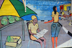 Mural tells the story of Swakopmund Stock Photo