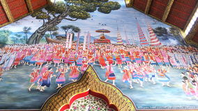Mural Thailand mountain way of life And faith in Buddhism Stock Images