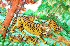 Mural Tiger Royalty Free Stock Photo
