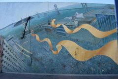 Mural traces history originally of a creek to the original bike and pedestrian path, 6. stock photo