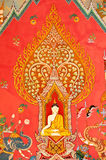 Mural on the wall of Buddhist church Stock Photo