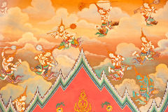 Mural on the wall of Buddhist church stock image