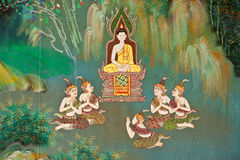 Mural on the wall of Buddhist church Royalty Free Stock Image