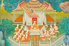 Mural on the wall of Buddhist church Royalty Free Stock Photography