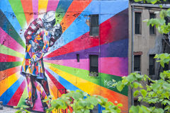 A Mural on the wall in New York, NY Stock Photography