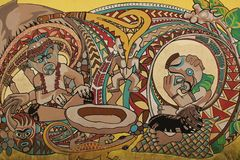 Mural. A Mural on a wall in Pago Pago on the island of Tutuila in American Samoa royalty free stock photography