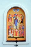 The mural on the wall of St.  Elijah Church in Vyb. The mural on the wall of St.  Elijah Church in Viborg, Russia Royalty Free Stock Photography