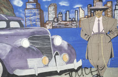 Mural of zoot suiter and car, South Central Los Angeles, California Stock Photos