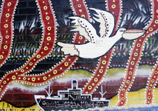 Murale aborigeno australiano di arte Immagine Stock Libera da Diritti