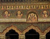 Murale antico del monastero di Stavropoleos Fotografie Stock Libere da Diritti