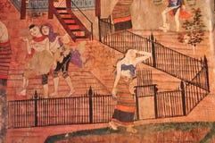Murale antico del tempiale buddista Fotografia Stock Libera da Diritti