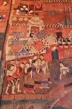 Murale antico del tempiale buddista Immagine Stock