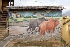Murale con l'aratro, Thimphu, Bhutan Immagini Stock Libere da Diritti