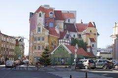 murale 3D a Poznan, Polonia, dipinta per ricordare il distretto storico del mercato Fotografia Stock