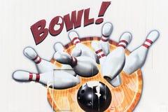 Murale del vicolo di bowling Fotografia Stock