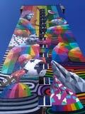 Murale di arte della via a Lodz, Polonia immagine stock