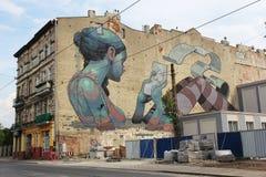 Murale di arte della via a Lodz, Polonia immagine stock libera da diritti