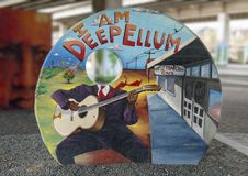 Murale di arte nel parco Ellum profondo, Dallas, il Texas di arte Fotografia Stock Libera da Diritti