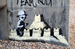 Murale di Banksy, St.Leonards Fotografie Stock Libere da Diritti