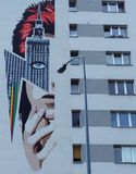 Murale di David Bowie a Varsavia, Polonia immagine stock