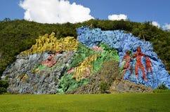 Murale di preistoria in valle di Viñales (Pinar del Rio, Cuba) Fotografia Stock