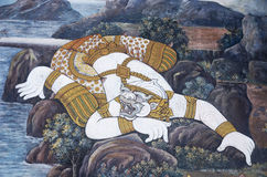 Murale di Ramayana in Wat Pra Kaew, Bangkok, Tailandia Immagine Stock Libera da Diritti