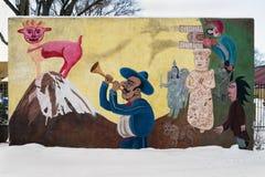 Murale ispanico, Santa Fe, New Mexico, S.U.A. Fotografia Stock