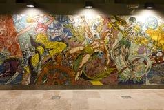 Murale nella stazione della metropolitana di Lisbona Immagine Stock Libera da Diritti