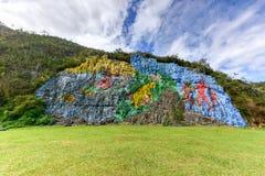 Murale preistorico - Vinales, Cuba fotografia stock