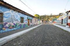 Murale su una casa a Ataco in El Salvador Immagine Stock Libera da Diritti