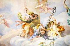 Murale sulla parete in Karlskirche fotografie stock
