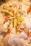 Murale sulla parete in Karlskirche immagine stock