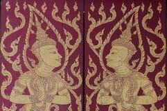 Murale tailandese tradizionale che dipinge la durata di Buddha e di vita tailandese fotografia stock libera da diritti