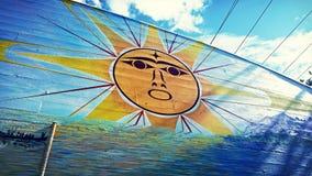 Murale tribale del sole brillante Fotografia Stock Libera da Diritti