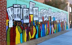 Murale variopinto ed unico su Main Street a Memphis, Tennessee Fotografia Stock