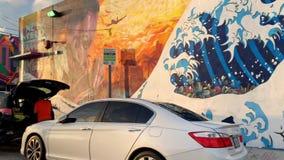 Murales coloridos en edificios en el distrito de Wynwood en Miami almacen de video