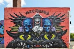 Murales de la pared en Detroit fotos de archivo libres de regalías