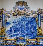 Murales de la teja en el ferrocarril de Pinhao Imagenes de archivo