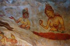 Murales de Sigiriya y x28; Maidens& x29 de Sigiriya; Imagenes de archivo