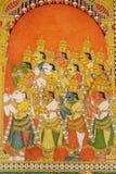 Murales en el templo de Meenakshi, la India fotografía de archivo libre de regalías