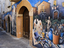 Murales en una pequeña ciudad de Italia Fotografía de archivo