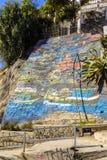 Murales hermosos en calles de Valparaiso foto de archivo