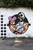 Murales med stencilbruk i Airola Italien Royaltyfri Foto