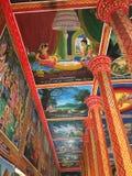 Murali al tempio di Wat Preah Prom Rath in Siem Reap, Cambogia immagine stock libera da diritti