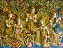 Murali che descrivono le scene da mitologia buddista Immagine Stock Libera da Diritti