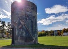 Murali sul silos in Jefferson, Vermont Fotografie Stock